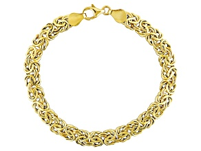 10k Yellow Gold Hollow Flat Byzantine Link Bracelet 8 inch 6.5mm