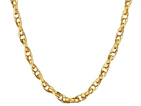10k Yellow Gold Hollow Double Oval Rolo Link Chain Necklace 20 inch 2mm
