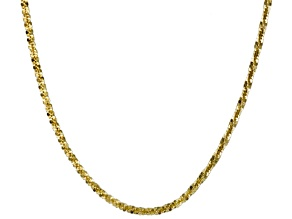 10k Yellow Gold Criss Cross Link Chain Necklace 20 inch