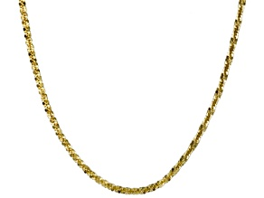 10k Yellow Gold Criss Cross Link Chain Necklace 24 inch