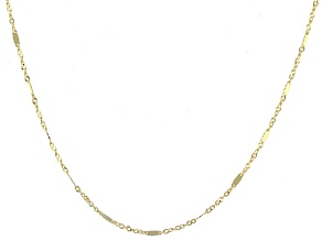 10k Yellow Gold Singapore Link With Bar Stations Chain Necklace 18 inch