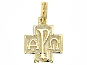 10k Yellow Gold Alpha And Omega Cross Pendant