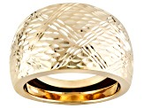 10k Yellow Gold Diamond Cut Dome Ring