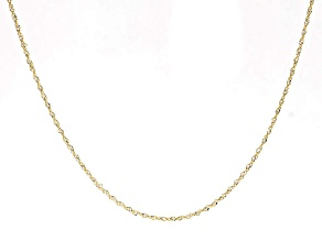 10k Yellow Gold & Rhodium Over 10k Yellow Gold Singapore Link Chain 22 inch