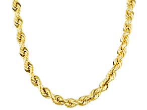 10k yellow gold hollow rope link chain necklace 24 inch 3.5mm