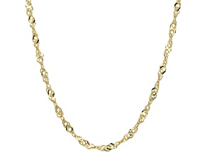 10k Yellow Gold Hollow Singapore Link Chain Necklace 20 inch 2.5mm