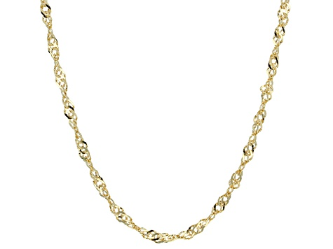 10k Yellow Gold Hollow Singapore Link Chain Necklace 24 inch 2.5mm