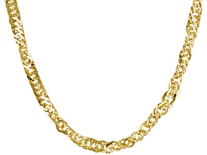 10k Yellow Gold Hollow Singapore Link Chain Necklace 18 inch 2.5mm