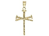 10k Yellow Gold Nail Cross Pendant.