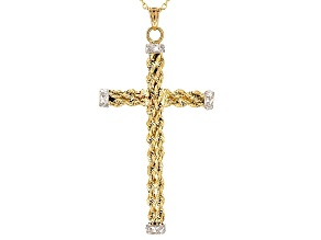 10k Yellow Gold & Rhodium Over 10k Yellow Gold Hollow Cross Pendant