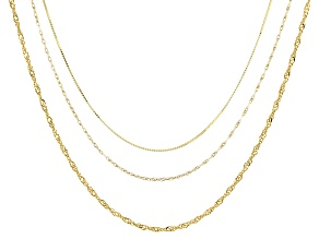 10k Yellow Gold Box Singapore And Rope Link Chain Necklace Set Of Three