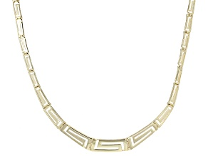 10k Yellow Gold Graduated Greek Key Link Necklace 18 inch