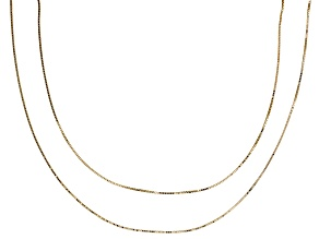 10k Yellow Gold 0.79MM Square Box Link Chain Set Of Two 20 inch & 24 inch