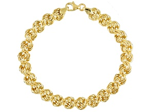 10k Yellow Gold Hollow Rosetta Link Bracelet 7 inch