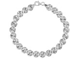 10k White Gold Hollow Rosetta Link Bracelet 7 inch