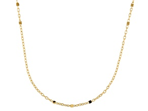 10k Yellow Gold Rolo Link Cube Station Necklace 20 inch