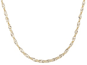 10k Yellow Gold With Rhodium 2-Tone Gold Singapore Link Chain Necklace