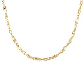 10k Yellow Gold Singapore Link Chain Necklace 20 inch