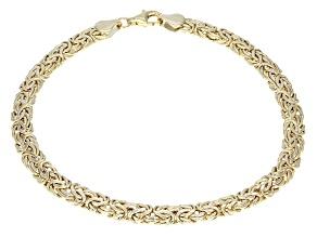 10k Yellow Gold Hollow Byzantine Link Bracelet 8 inch 5mm
