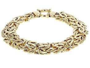 10k Yellow Gold Flat Byzantine Link Bracelet 8 inch 12.5mm