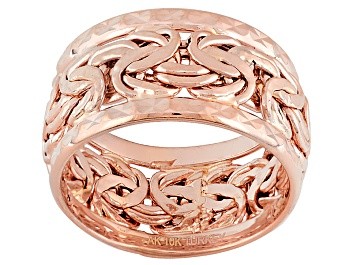 Picture of 10k Rose Gold Hollow Byzantine Link Band Ring