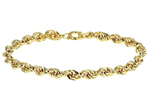 10k Yellow Gold Hollow Square Rope Link Bracelet 8 inch