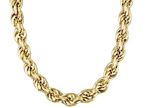 10k Yellow Gold Hollow Rope Link Chain Necklace 20 inch 6mm