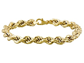 10k Yellow Gold Hollow Rope Link Bracelet 7.5 inch 6mm