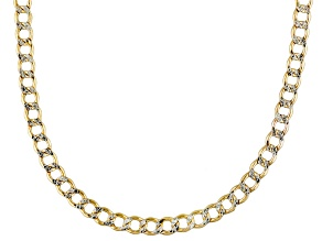 10k Yellow Gold With Rhodium 2-Tone Hollow Curb Link Chain Necklace 20 inch