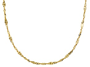 10k Yellow Gold Twisted Mirror Link Chain Necklace 20 inch