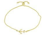 10k Yellow Gold Hollow Anchor Station Bracelet 8.5 inch