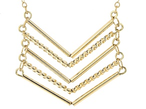 10k Yellow Gold Hollow Chevron Necklace 18 inch