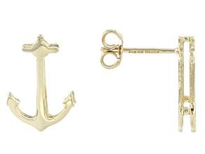 10k Yellow Gold Anchor Stud Earrings