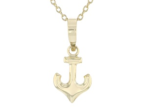 10k Yellow Gold Hollow Anchor Pendant With Cable Link Chain 18 inch