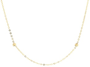 10k Yellow Gold Hollow Bead Station Necklace 20 inch