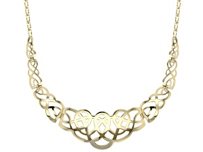 10k Yellow Gold Laser Cut Graduated Necklace 18 inch