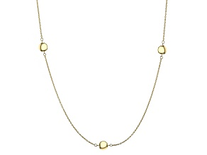 10k Yellow Gold Hollow Round Station Necklace 36 inch