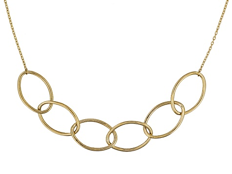 10k Yellow Gold Hollow Oval Link Station Necklace 18 inch