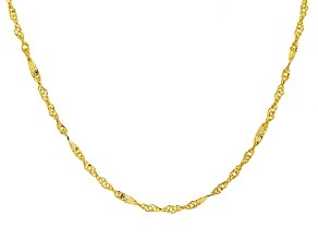 10k Yellow Gold Singapore Link Necklace 20 inch
