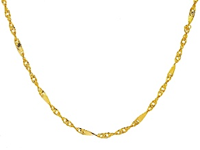 10k Yellow Gold Singapore Link Necklace 24 inch