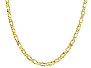 10k Yellow Gold Hollow Curb Link Chain Necklace 18 inch