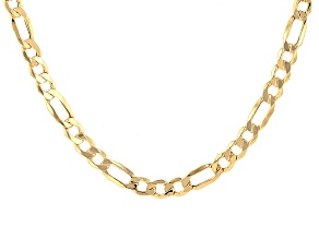 10k Yellow Gold Hollow Figaro Link Chain Necklace 20 inch 5mm