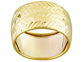 10k Diamond Cut 10mm Band Ring