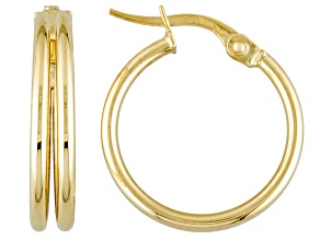 10k Yellow Gold Tube Hoop Earrings 15mm