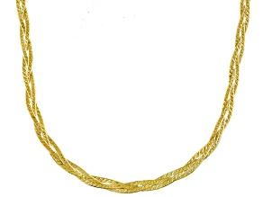 10k Yellow Gold Braided Herringbone Link Necklace 18 inch