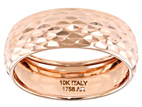 10k Rose Gold Diamond-Cut Band Ring