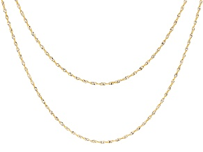 10k Yellow Gold With Rhodium 2-Tone Singapore Link Chain Necklace Set Of 2
