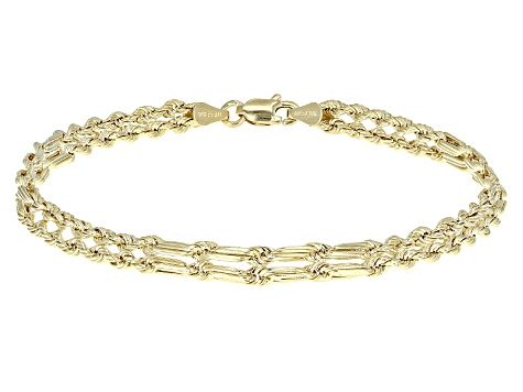 10k Yellow Gold Hollow Rope Link Bracelet 7 5 Inch