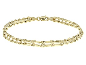 10k Yellow Gold Hollow Rope Link Bracelet 7.5 inch