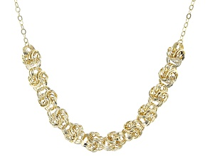 10k Yellow Gold Hollow Rosette Link Necklace 18 inch
